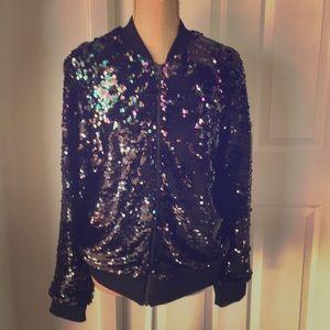 Black Sequin Jacket by Torrid size 0